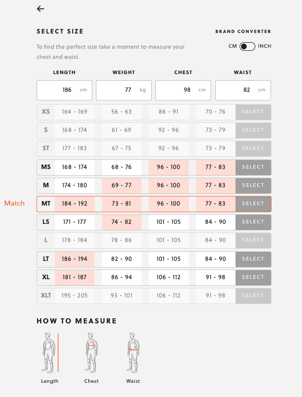 SRFACE wetsuit size finder size MT size chart